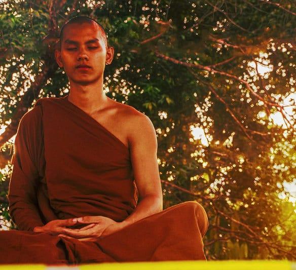 Mudra practicado por un monje budista en su meditación